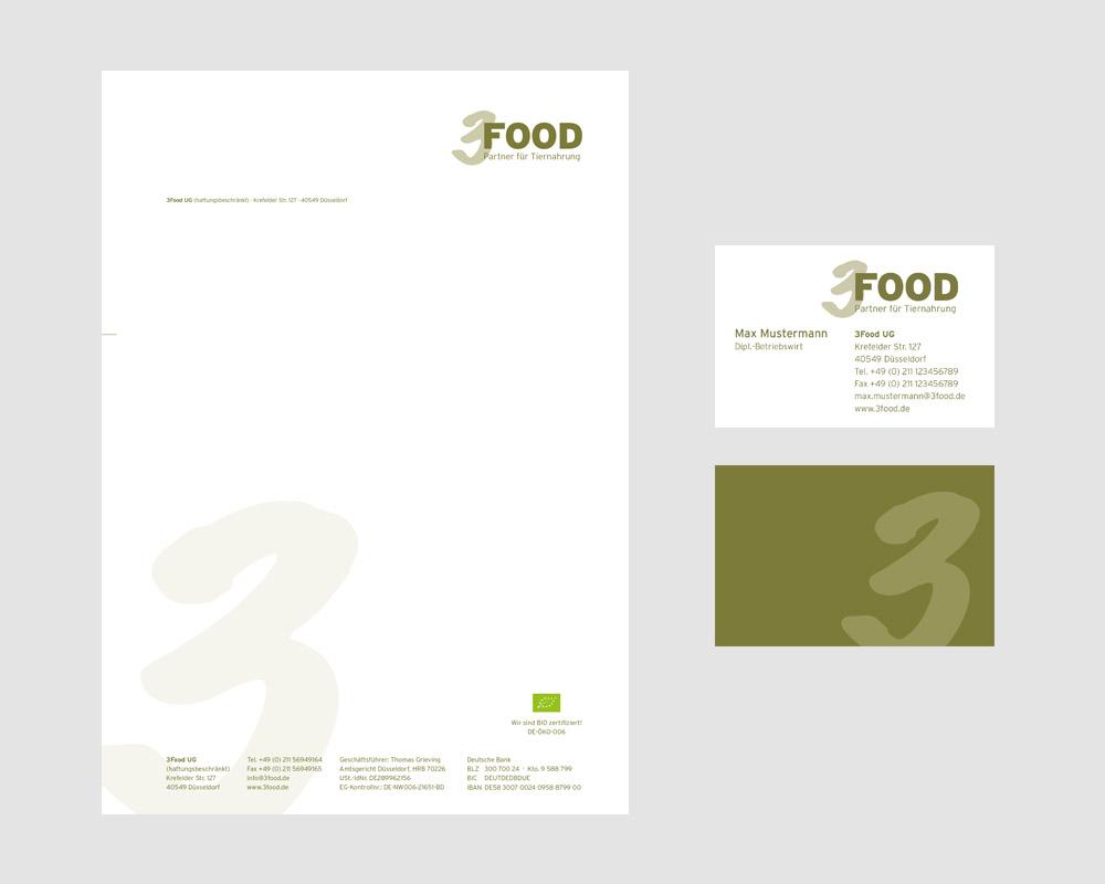 Logodesign und Geschäftsausstattung für die 3Food UG