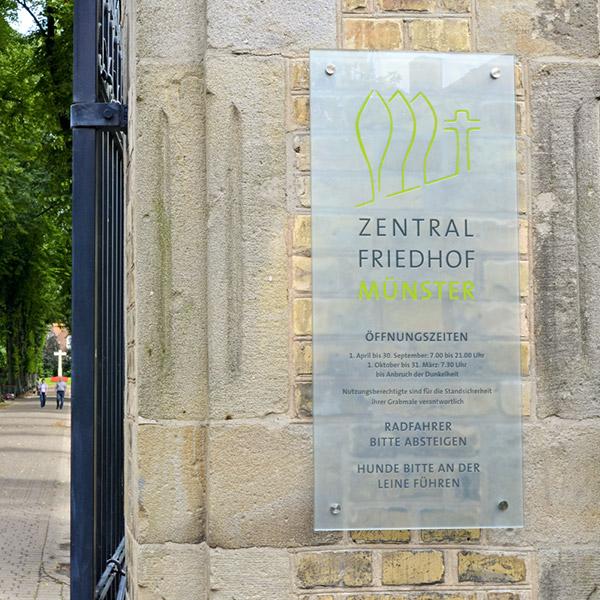 Beschilderung Zentralfriedhof Münster