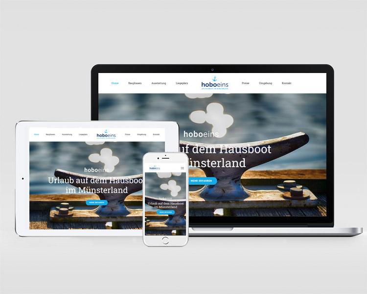"""Logoentwicklung und Webdesign für das Hausbootprojekt """"Hoboeins"""""""