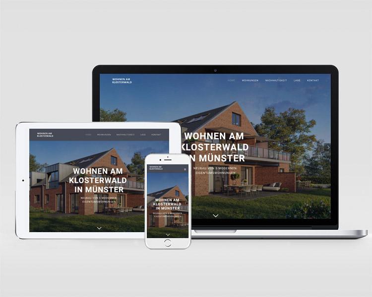 """Webdesign für das Immobilienprojekt """"Wohnen am Klosterwald"""""""